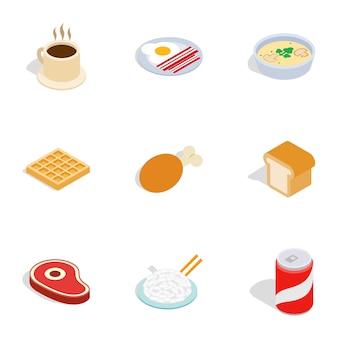 Ícones de comida, estilo 3d isométrico