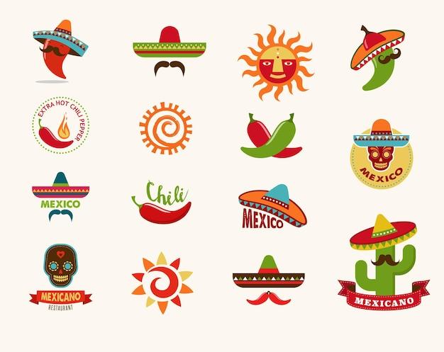 Ícones de comida mexicana, elementos de menu para restaurante e café
