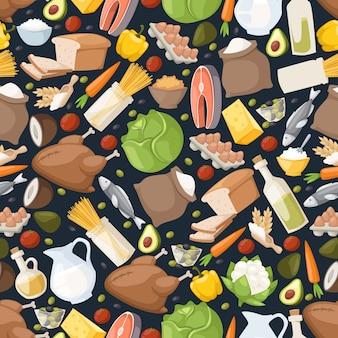 Ícones de comida no padrão sem emenda. emblemas isolados de ingredientes, produtos lácteos, legumes, frango e peixe. papel de embrulho para o mercado de alimentos