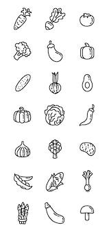Ícones de comida plana de linha fina. legumes