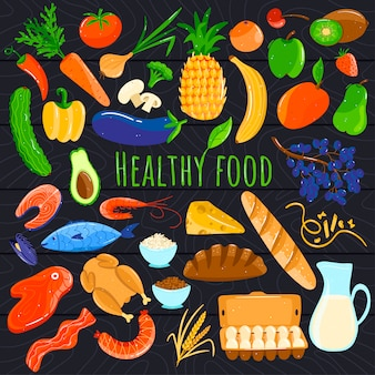 Ícones de comida saudável, produtos orgânicos frescos, frutas e legumes dos desenhos animados, ilustração