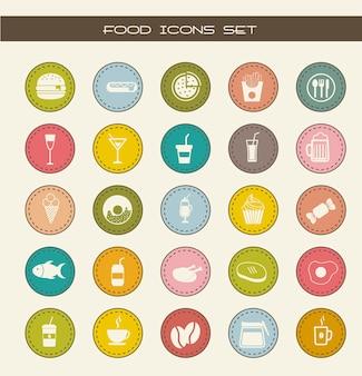 Ícones de comida sobre ilustração vetorial de fundo vintage
