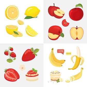 Ícones de comida vegetariana. frutas orgânicas frescas. ilustração de colheita de frutas de saúde.