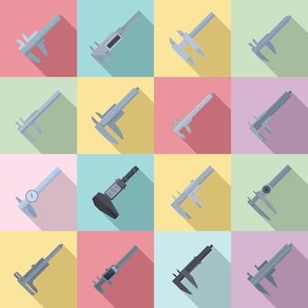 Ícones de compasso de calibre definir vetor plana. tresmalho calibrado. pinças de close up