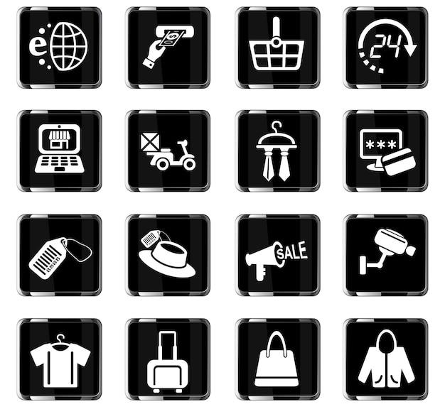 Ícones de compras e comércio eletrônico para design de interface de usuário