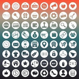 Ícones de compras e comércio eletrônico