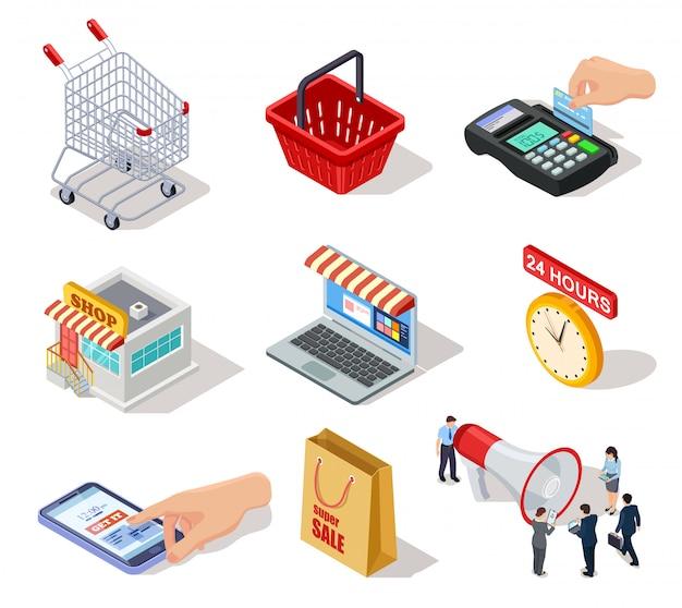 Ícones de compras isométricos. loja de comércio eletrônico, loja on-line e internet comprando símbolos de marketing 3d