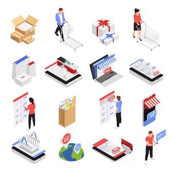Ícones de compras móveis conjunto com símbolos de comércio eletrônico isométrico isolado