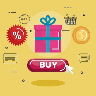 Ícones de compras on line set