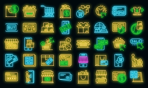 Ícones de compras online definem néon de vetor