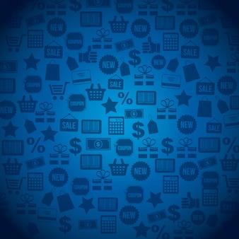 Ícones de compras sobre ilustração vetorial de fundo azul