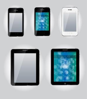 Ícones de computador tablet e celular. ilustração vetorial