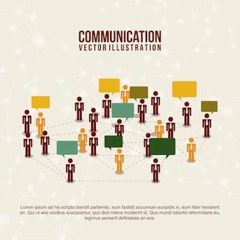 Ícones de comunicação ao longo do circuito padrão fundo vector illu