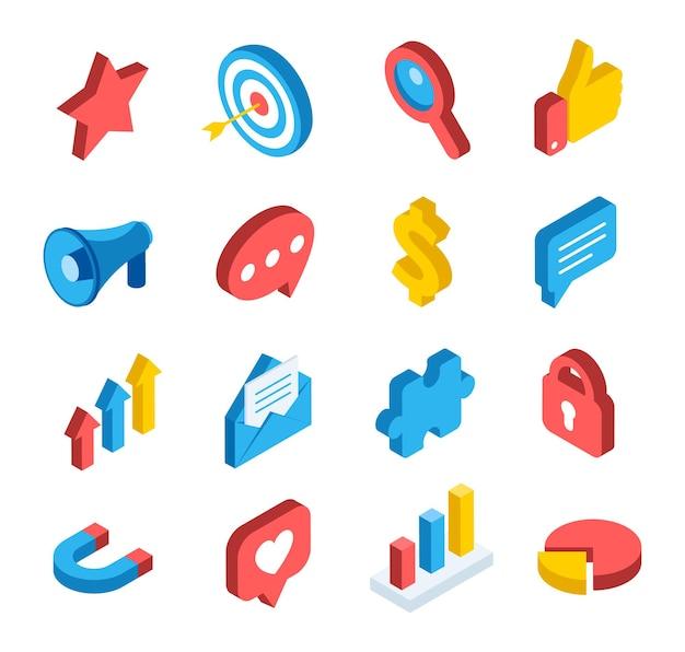 Ícones de comunicação de aplicativos móveis de redes digitais de marketing social isométrico