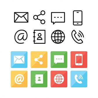 Ícones de comunicação e estilo de linha