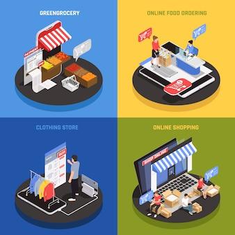 Ícones de conceito de compras móveis conjunto com comida on-line, pedir símbolos isométricos isolados