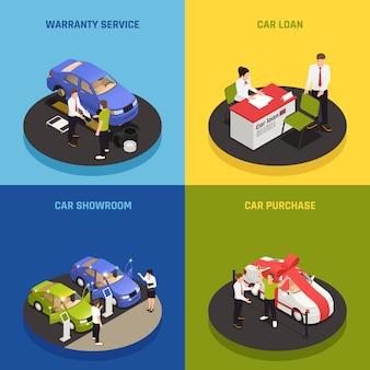 Ícones de conceito de concessionária de carro conjunto com símbolos de empréstimo de carro isométrico isolado