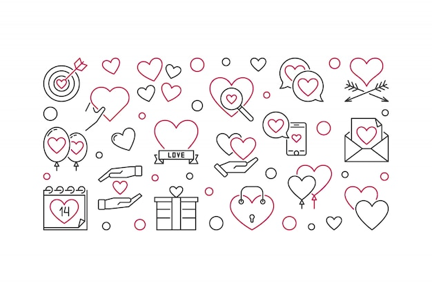 Ícones de conceito de contorno de vetor de dia dos namorados
