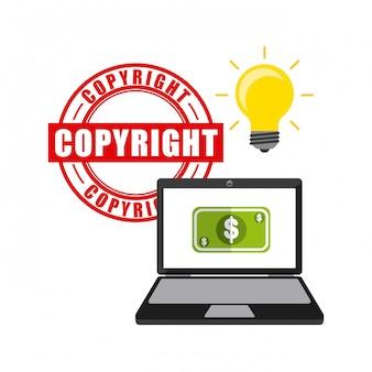 Ícones de conceito de direitos autorais de negócios