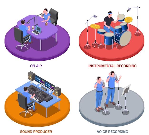 Ícones de conceito de estúdio de rádio com símbolos de gravação de voz isométricos isolados