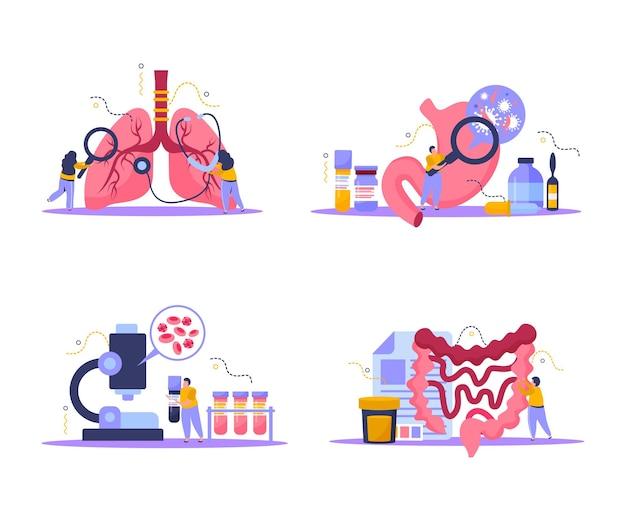 Ícones de conceito de exame de saúde definidos com ilustração plana isolada de símbolos de exame corporal