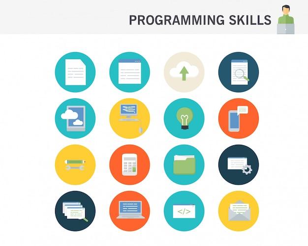 Ícones de conceito de habilidades de programação planas
