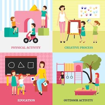 Ícones de conceito de jardim de infância com atividades ao ar livre e símbolos de educação planas