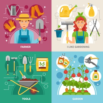 Ícones de conceito de jardinagem fundo quadrado