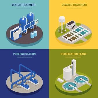 Ícones de conceito de limpeza de água com símbolos de tratamento de água isométricos isolados