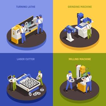 Ícones de conceito de máquinas industriais conjunto com símbolos de máquina de trituração isométrico isolado