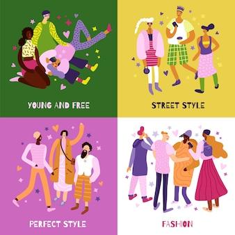 Ícones de conceito de moda de rua para jovens definidos de forma plana