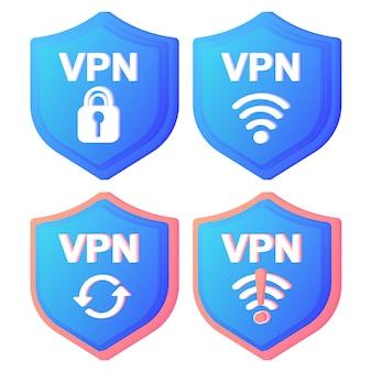 Ícones de conceito de serviço vpn usando vpn para proteger seus dados pessoais no computador rede privada virtual conexão de rede segura e proteção de privacidade conjunto de conceito de transferência de dados tráfego web seguro