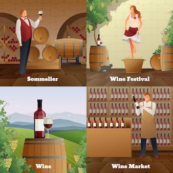 Ícones de conceito gradiente de produção de vinho definidos ilustração plana isolada