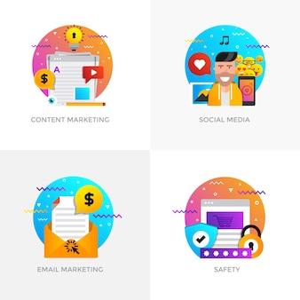 Ícones de conceitos modernos projetados com cores planas para marketing de conteúdo
