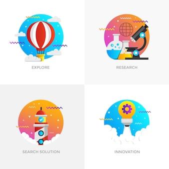 Ícones de conceitos modernos projetados em cores planas para explorar