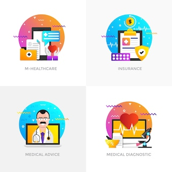 Ícones de conceitos modernos projetados em cores planas para m-healthcare