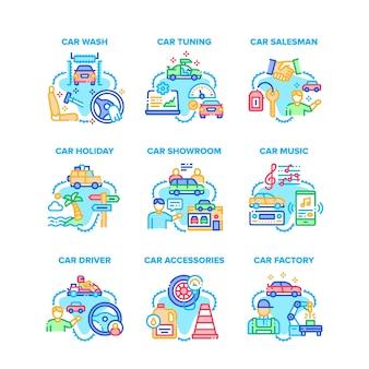 Ícones de conjunto de acessórios para carro