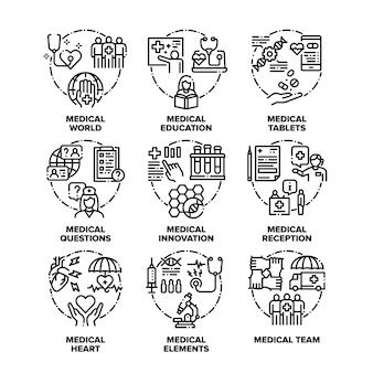 Ícones de conjunto de ajuda médica