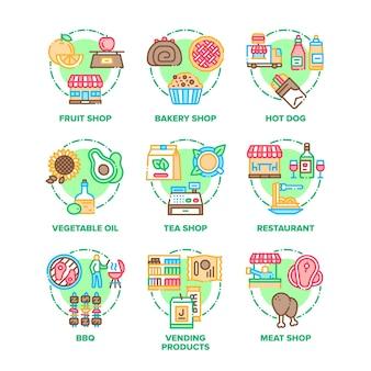 Ícones de conjunto de alimentos e refeições