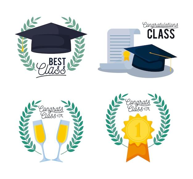 Ícones de conjunto de cartão de classe de formatura