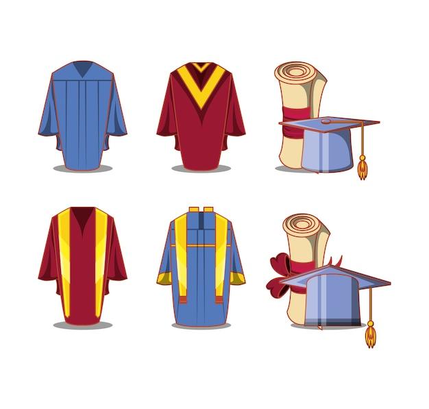 Ícones de conjunto de cartão de formatura de celebração
