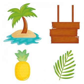Ícones de conjunto de cartaz de férias de verão