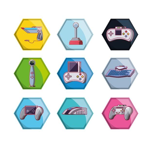 Ícones de conjunto de cena de videogame