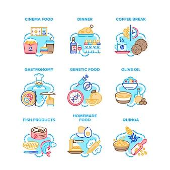 Ícones de conjunto de comida deliciosa