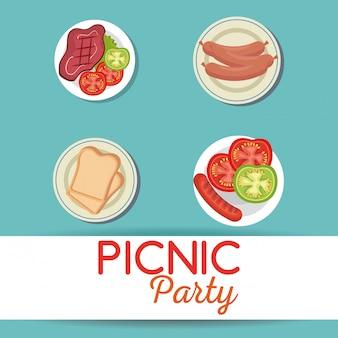 Ícones de conjunto de convite de festa de piquenique