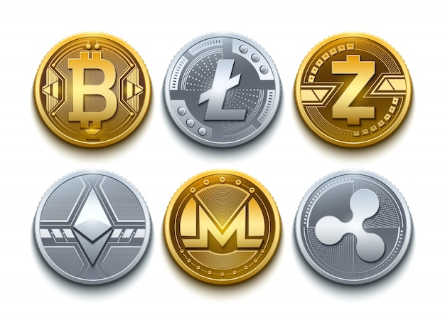 Ícones de conjunto de criptografia de vetor digital. bitcoin, ethereum, litecoin, monero, ripple e z