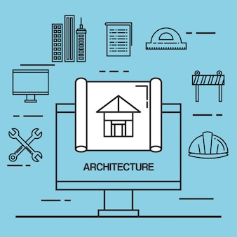 Ícones de conjunto de design arquitetônico