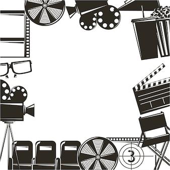 Ícones de conjunto de equipamentos de filmes cinematográficos