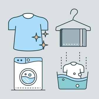 Ícones de conjunto de lavanderia