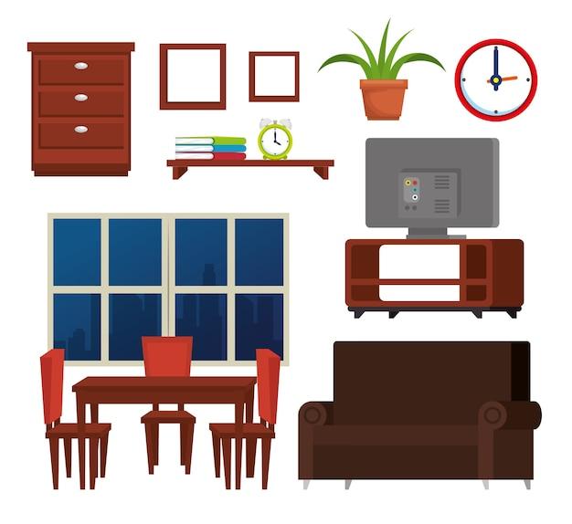 Ícones de conjunto de lugar de casa